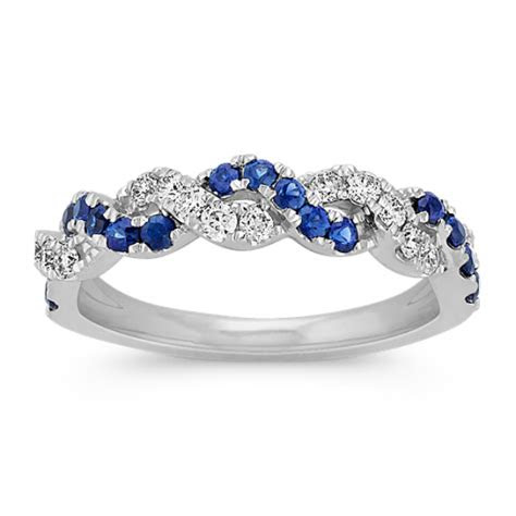 traditional sapphire  diamond braided ring