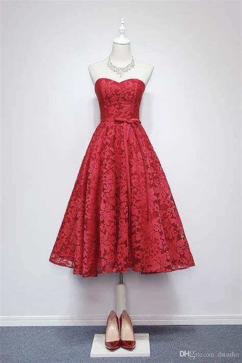 Wine Red Lace Wedding Guest Dress Sweetheart Tea Length