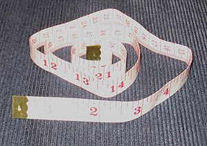 Photograph of a tape measure used in sewing.