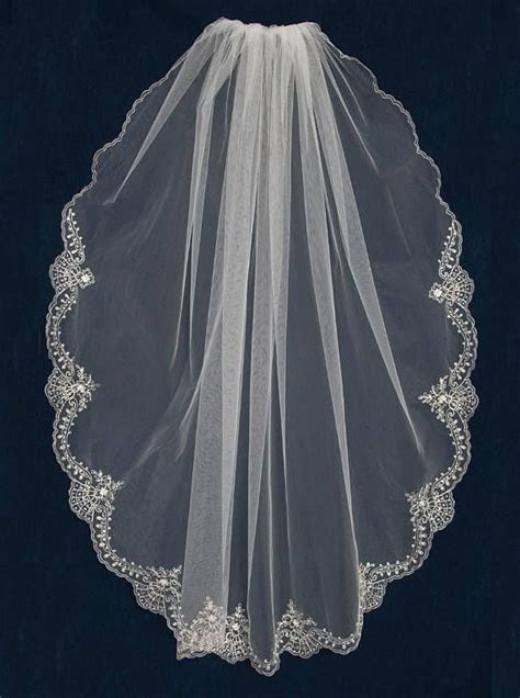 Wedding Veil with Silver Beaded Embroidery Lace Design