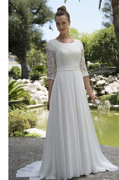 Discount Informal Lace Chiffon Modest Beachboho Wedding