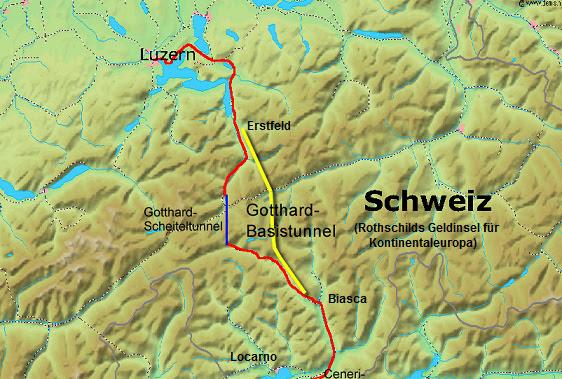 Gotthard-Basistunnel, Karte