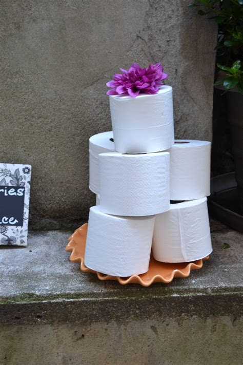 Toilet paper wedding cake. On display for the 'toilet