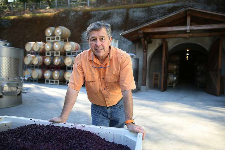 Owner/winemaker Rudy von Strasser shows just pressed grapes in front of his cave at von Strasser Winery in Calistoga, Calif., on Monday, October 12, 2015.