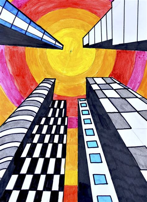 buildings   point perspective art  easy art
