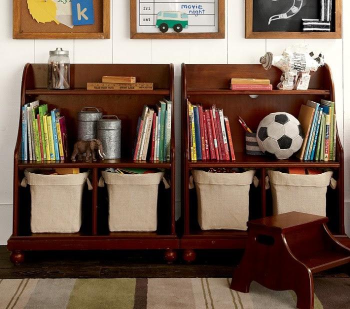 retro storage solution in dark varnished wood with children's accesories
