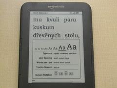 Kindle - dialog pro přizpůsobení písma