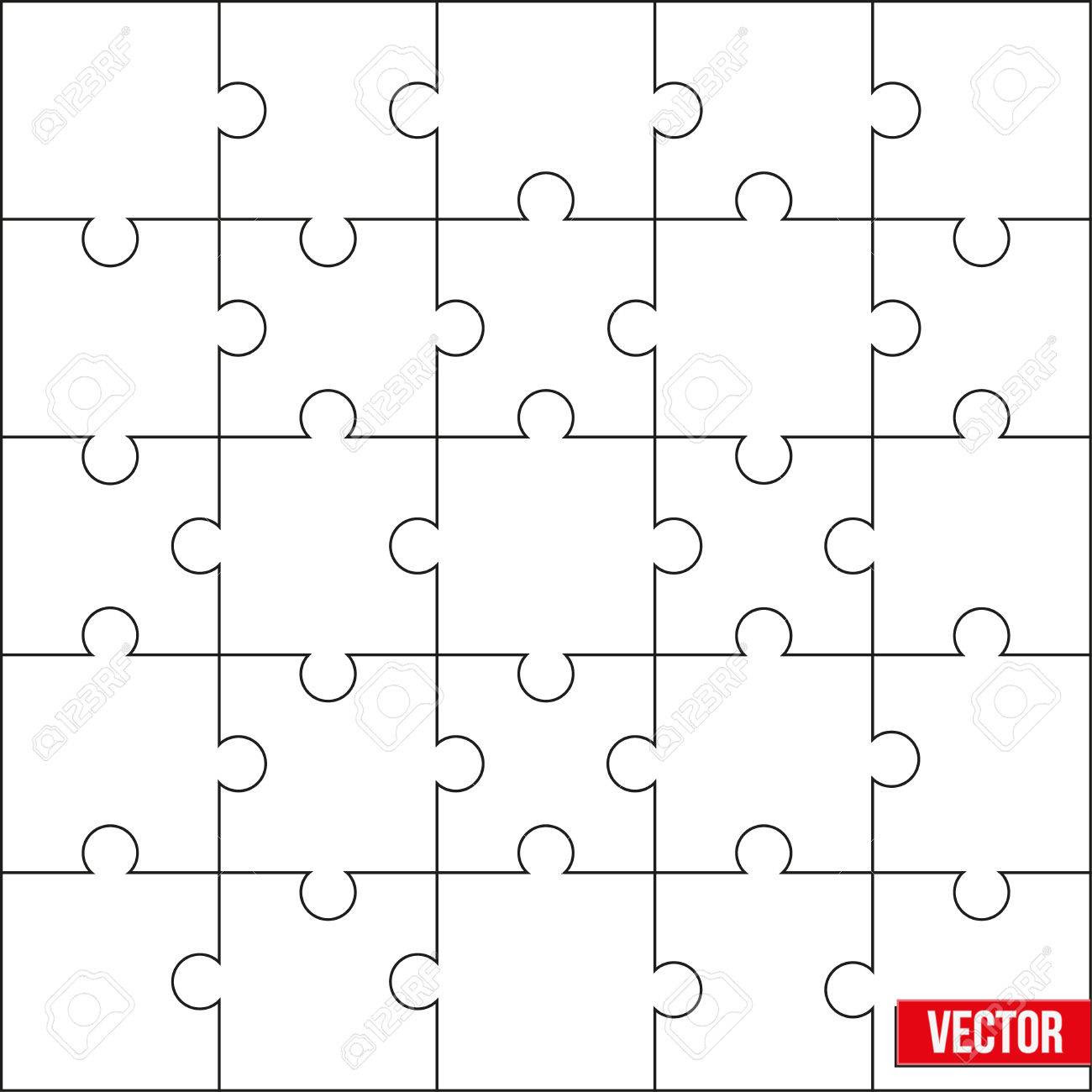 Sample Of Jigsaw Square Puzzle Blank Template Or Cutting ...