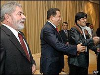 Presidentes Lula, Chávez y Morales