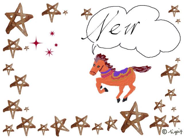Newの手書き文字のフキダシと馬のイラストと星のフレームのイラスト無料