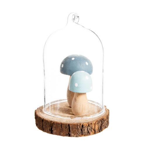 Decorazione con funghi sotto campana in vetro per l'abete H 6 cm