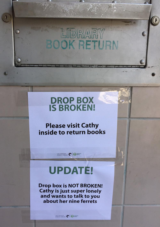 http://littlebrumble.tumblr.com/post/132152741946/obviousplant-bonus-library-drop-box-sign-on