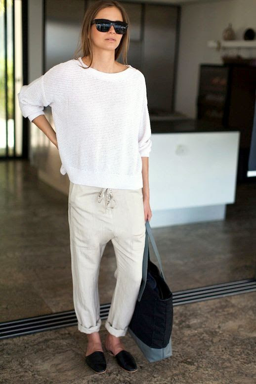 Le Fashion Blog Whites Neutrals Emerson Fry SS 2014 Lookbook White Carolyn Sweater In Lattea Slouchy Pant in Flax Linen Pants Black Leather Emerson Slides Slip On Flats 2 photo Le-Fashion-Blog-Whites-Neutrals-Emerson-Fry-SS-2014-Linen-Pants-2.jpg