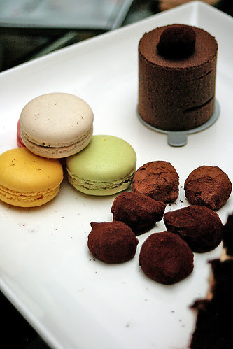 Macarons, truffles and 70% dark chocolate cake
