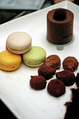 Macarons, truffles and 70% dark chocolate cake