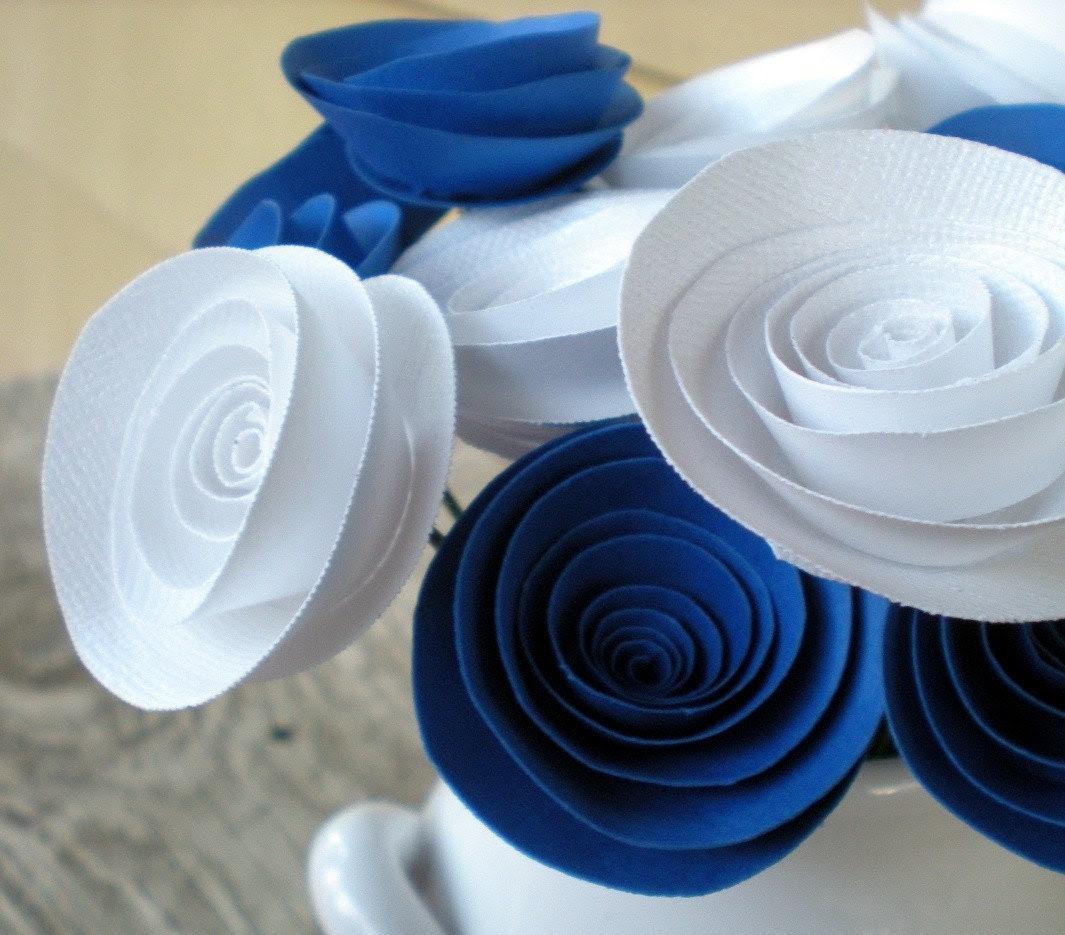Royal Blue & White Handmade Paper Flowers Bouquet -- Duke -- Blue Devils -- Durham
