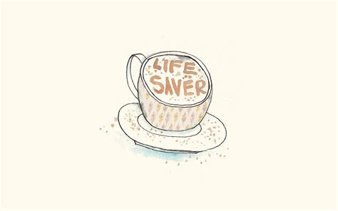 ap life saver coffee illustration cute wallpaper