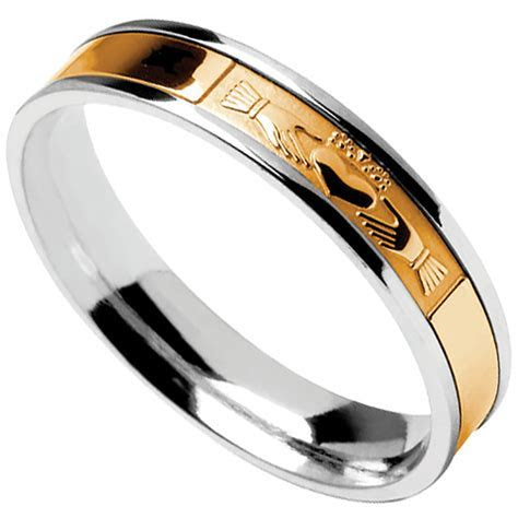 Claddagh Ring   Men's Sterling Silver with 10k Yellow Gold