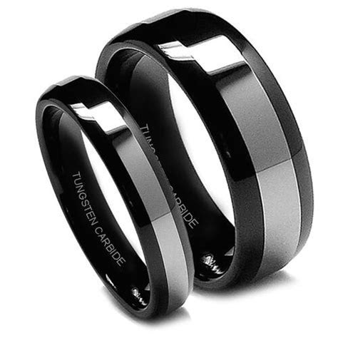Matching Wedding Band Set Tungsten Rings Black Titanium