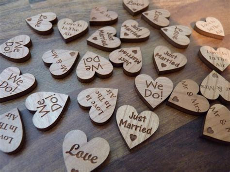 Wooden Wedding Table Heart Confetti Decorations
