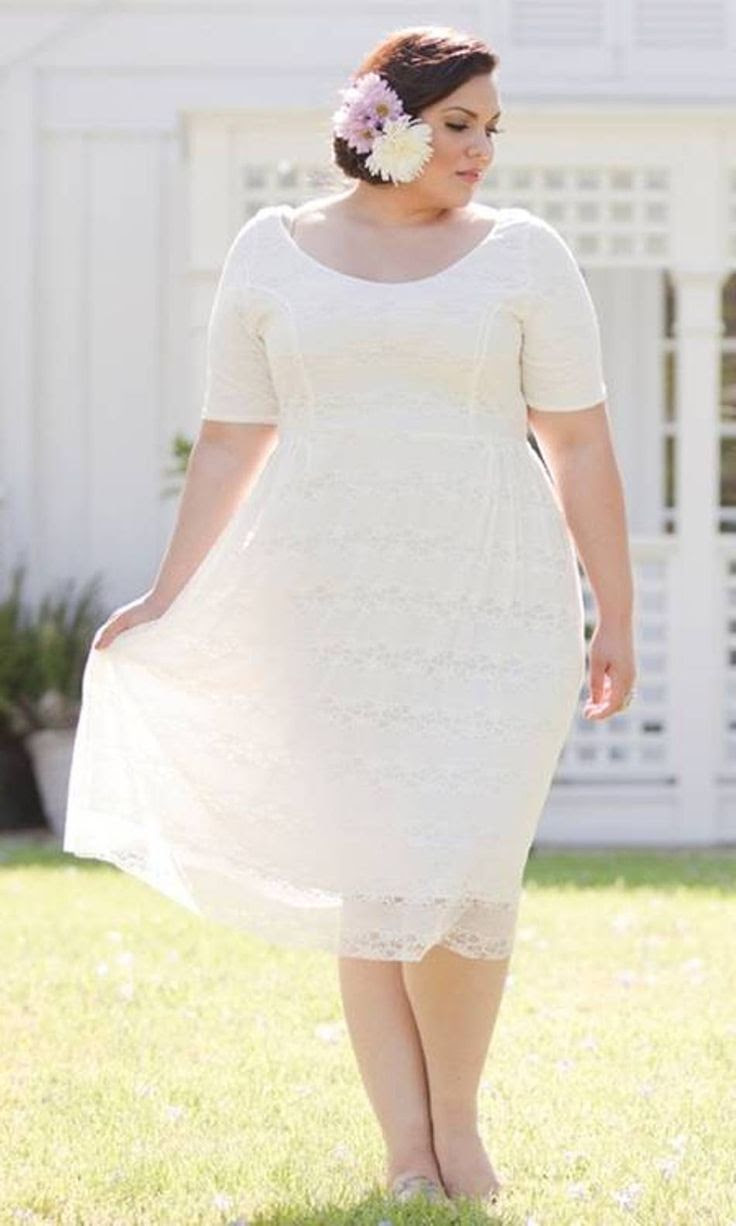 Wedding Decoration: Wedding Dresses Plus Size Tea Length