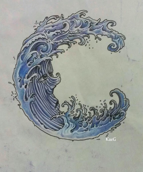 Japanese Water Wave Tattoo Design