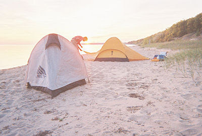 campsite on Lake Michigan shore