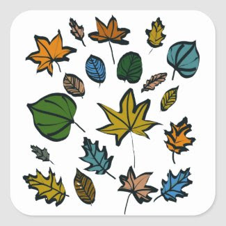 Autumn Leaves Design on Square Stickers