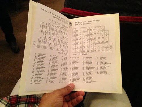 Seating chart, American Academy of Arts and Letters Ceremonial