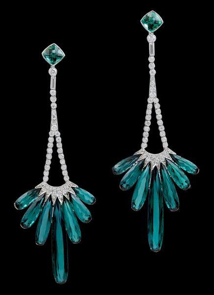 Platinum Diamond & Tourmaline Earrings