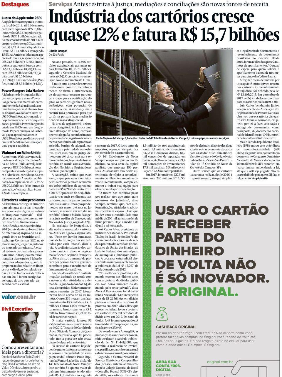 Ganho de Cartórios Revista Valor02