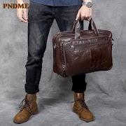 Cheap PNDME high quality large capacity genuine leather men's briefcase retro simple soft cowhide shoulder travel bag laptop bag