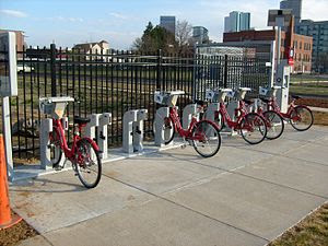 A Denver B-Cycle bike sharing station located ...