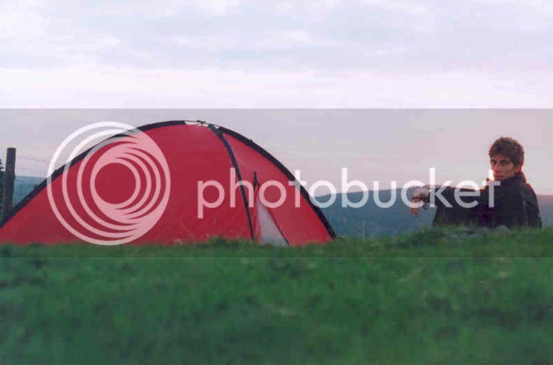 Luxury: A tent at last! LEJOG 2004