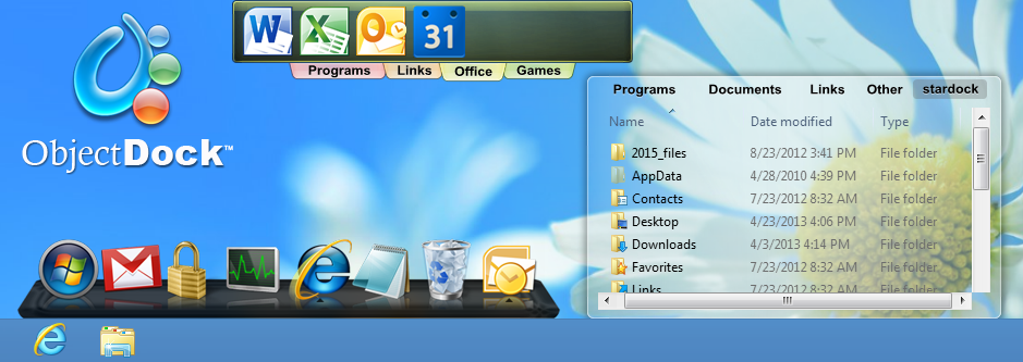 ObjectDock - The most popular animated dock for Windows