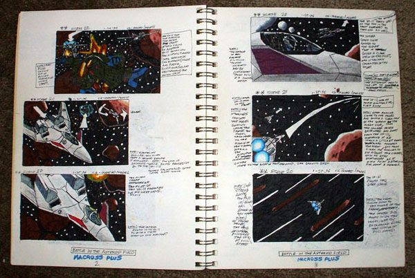 A sketchbook containing my storyboard drawings for MACROSS PLUS.
