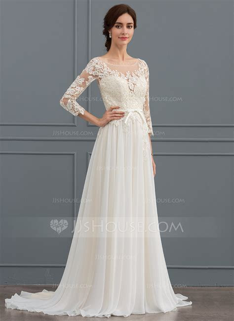 A Line Illusion Sweep Train Chiffon Lace Wedding Dress