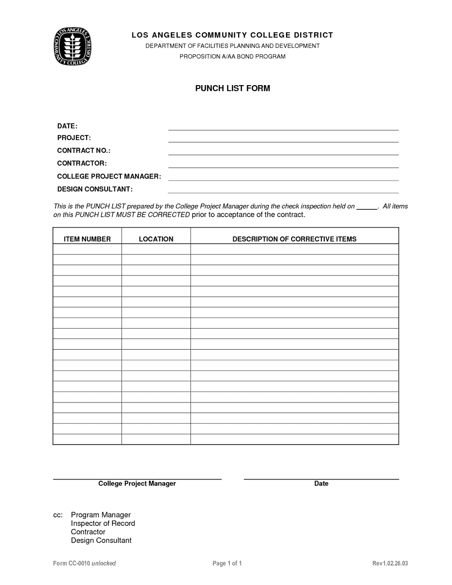 construction punch list template image