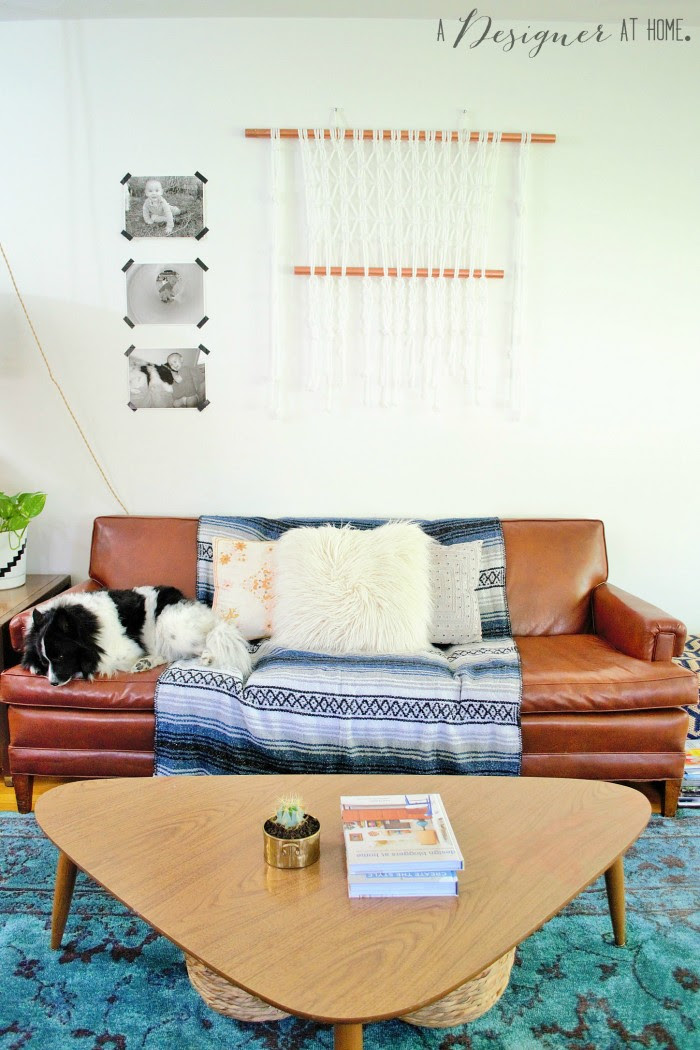 vintage brown vinyl sofa macrame black and white candid shots and a puppy, don't you just want to hang out here?
