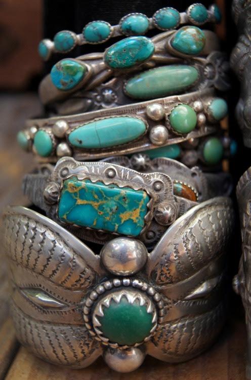 My Bohemian Style Mmmmm…..turquoise! ayyplusvee:  Turquoise bracelets by Greg Thorne.
