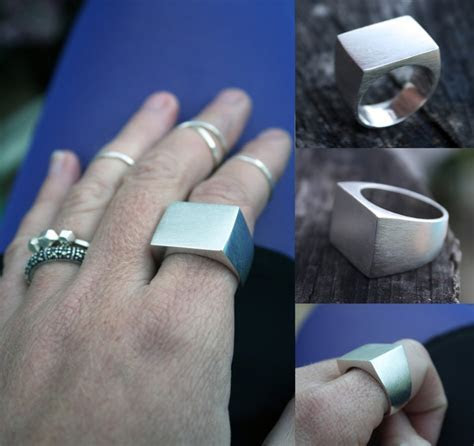 unique mens wedding ring chunky signet ring heavy square