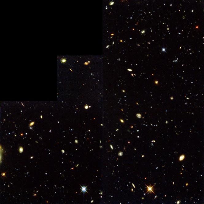 Questa immagine presa dal telescopio spaziale Hubble della NASA/ESA è una delle più profonde dell'Universo in luce visibile/ultravioletta. Mostra una minuscola regione della costellazione meridionale del Tucano, chiamata Campo Profondo Meridionale di Hubble. L'immagine è stata presa dalla camera WFPC2 (Wide Field Planetary Camera 2) nel 1998. La luce proveniente dalle galassie è stata analizzata anche con lo spettrografo STIS (Space Telescope Imaging Spectrograph). Crediti: R. Williams (STScI), the HDF-S Team, and NASA/ESA