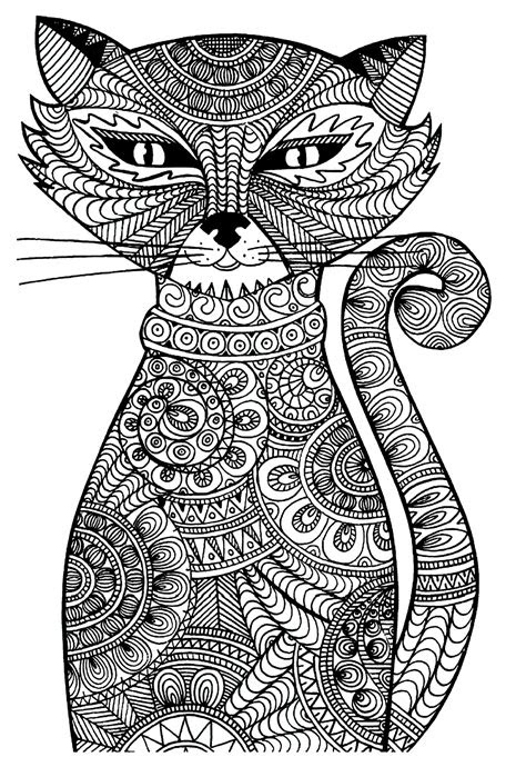 cat animals coloring pages  adults justcolor