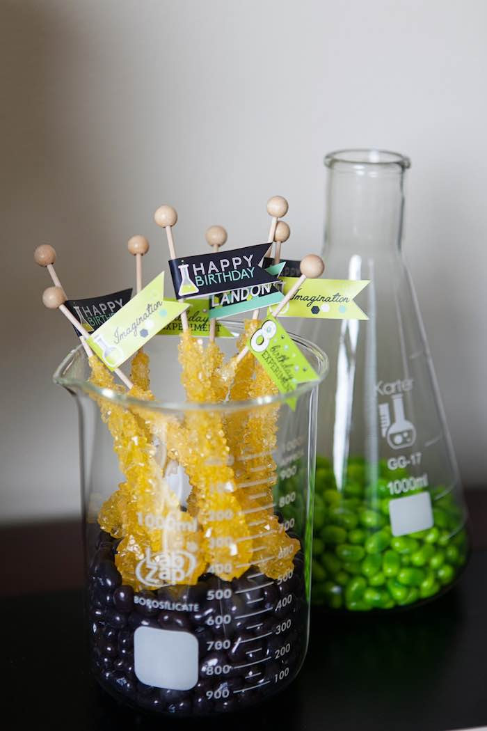Rock Candy Sugar Sticks + Candy from a Science Lab Birthday Party via Kara's Party Ideas KarasPartyIdeas.com (46)