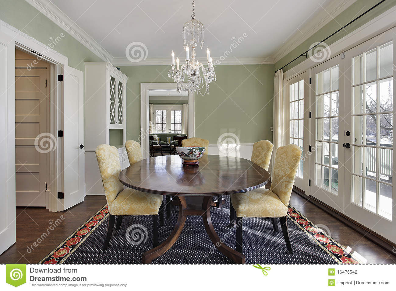 Dining Room With Green Walls Stock Photography - Image: 16476542