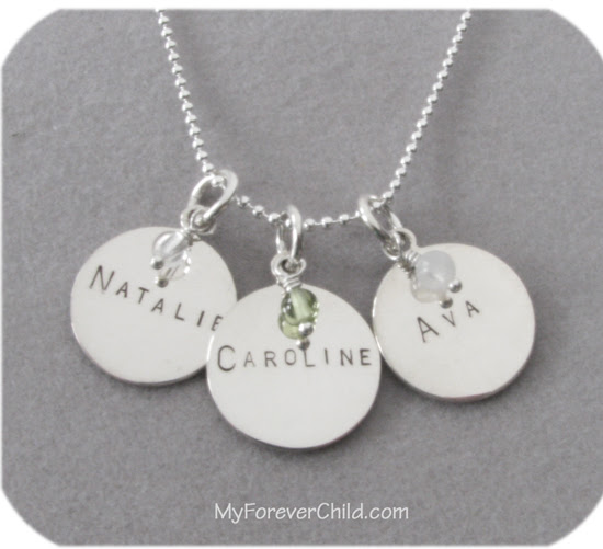 Hand Stamped Medium Round Charm Necklace