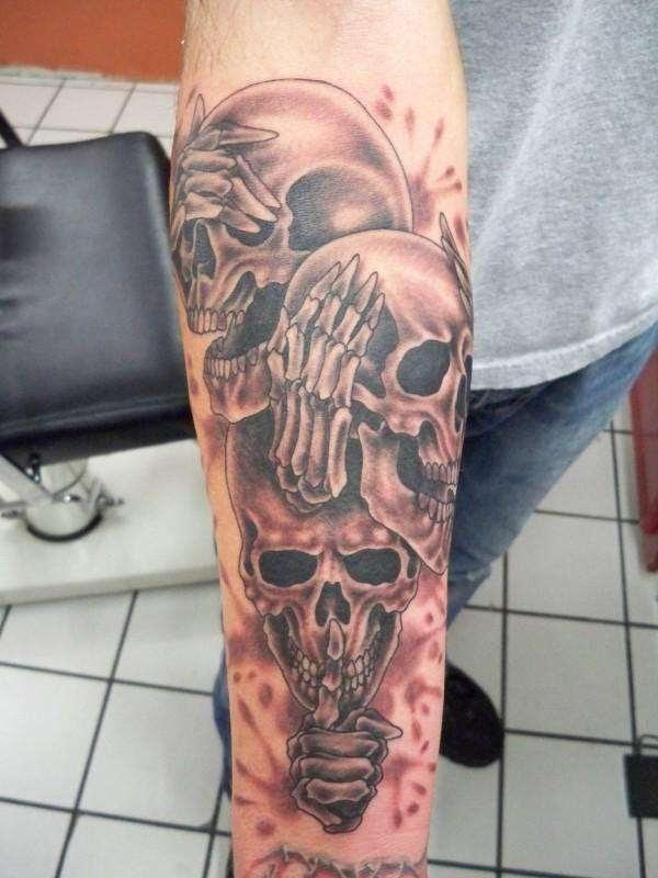 No See No Speak No Hear Devil Skulls Tattoos On Sleeve