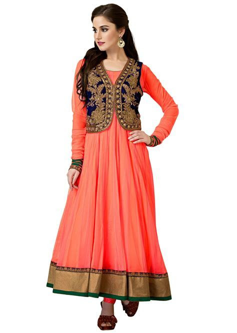 Neon pink and peach anarkali suit matched with embroidered