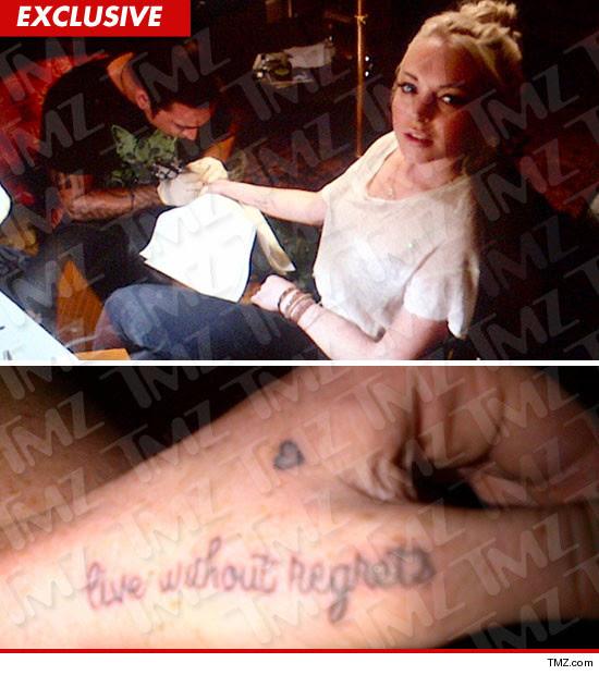 Lindsay Lohan wrist tattoo, live without regrets
