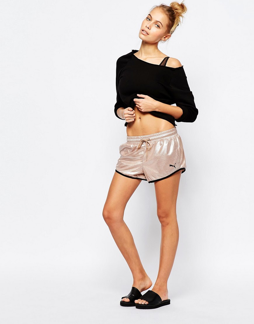 Image 1 of Puma Mini Shorts In Metallic Rose Gold